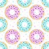 Donuts met blauw en roze suikerglazuur Royalty-vrije Stock Afbeelding