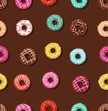 Donuts met het berijpen, bruine achtergrond, naadloos, Royalty-vrije Stock Afbeeldingen