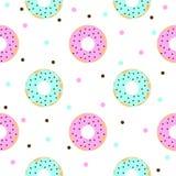 Donuts met roze en blauwe suikerglazuur en chocolade bestrooit Royalty-vrije Stock Fotografie