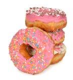 Donuts met roze suikerglazuur stock foto