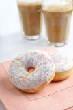 Donuts and milk Stock Photography