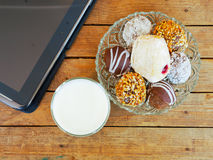 Donuts and milk breakfast stock photos