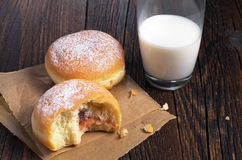 Donuts and milk Royalty Free Stock Photography