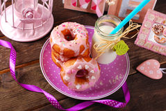 Donuts and milk Stock Images
