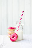 Donuts and milk Royalty Free Stock Images