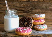 Donuts and milk Royalty Free Stock Photos