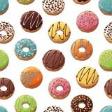 Donuts Mix Pattern Royalty Free Stock Image