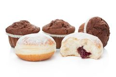 Donuts and Muffins chocolate desert Royalty Free Stock Images