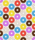 Donuts naadloos patroon op witte achtergrond De leuke zoete achtergrond van de voedselbaby stock illustratie