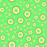 Donuts on the green background Stock Illustration