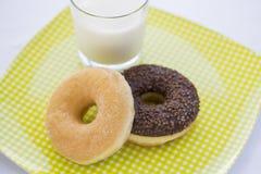Donuts och exponeringsglas av mjölkar i trädgård Fotografering för Bildbyråer