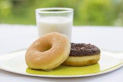 Donuts och exponeringsglas av mjölkar i trädgård Royaltyfri Foto