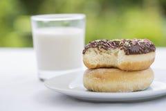 Donuts och exponeringsglas av mjölkar i trädgården för frukost Royaltyfri Fotografi
