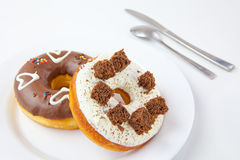 Donuts On The White Plate Royalty Free Stock Photos