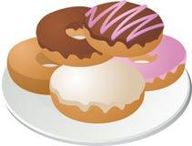 Donuts op plaat stock illustratie