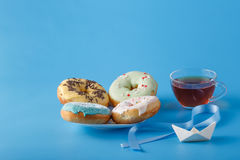 Donuts with origami Stock Photography