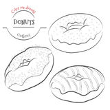 Donuts outline set. Collection of contour donuts with different Royalty Free Stock Photo