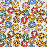 Donuts pattern. Bright seamless cartoon pattern of different donuts vector illustration