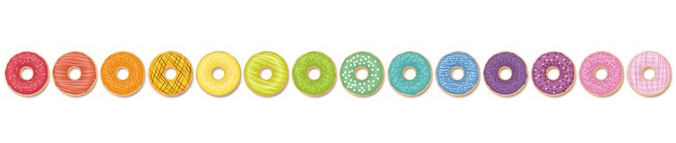 Donuts Pattern Rainbow Colored In A Line royalty free illustration