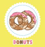 Donuts with pink tasty glazing. Donut icon Stock Photography