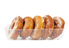 Donuts in the plastic case Stock Photography