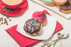 Donuts on a plate and coffee Stock Photo