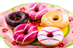 Donuts on a plate Royalty Free Stock Images