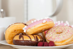 Donuts on   plate Royalty Free Stock Image