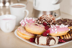 Donuts on  plate Stock Image