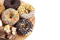 donuts plate trä arkivbild