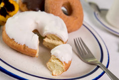Donuts on plate up close Royalty Free Stock Photo