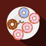 donuts on plate vector image stock illustration