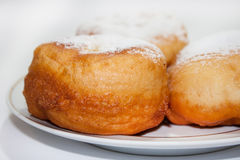 Donuts with the powdered sugar on the plate Royalty Free Stock Photography