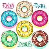 Donuts Punchy Pastel Set of Flavours. Set of Colorful Punchy Pastel Donuts, showcasing Color trends like Baby Blue, Yellow Mellow, Pink. Delicious and Creamy Royalty Free Stock Photography