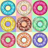 Donuts Punchy Pastel Set of 9 Flavours Royalty Free Stock Photos