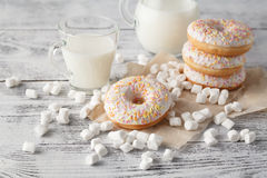 Donuts for quick snack. Donuts for kids quick snack on table Royalty Free Stock Photos