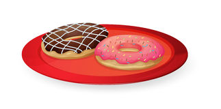 Donuts in red dish Stock Photo
