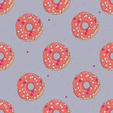 Donuts with red glaze and little hearts for St. Valentine`s day seamless pattern with outlines. Donuts with red glaze and little hearts for St. Valentine`s day Stock Photo