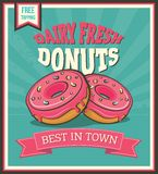 Donuts retro affiche Royalty-vrije Stock Afbeelding