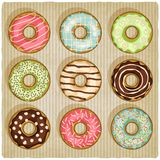 Donuts retro striped background Stock Image