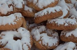 Donuts of Santa Clara, typical in the San Isidro festivities in Madrid. Spain stock images