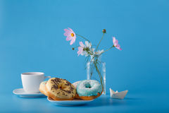 Donuts on saucer Stock Photography