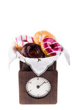 Donuts on scale Stock Photography