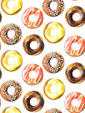 Donuts seamless pattern. Hand drawn watercolor pencils. Royalty Free Stock Photos