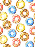 Donuts seamless pattern. Hand drawn watercolor pencils. Royalty Free Stock Photo