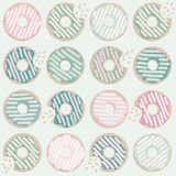 Donuts Seamless Pattern in Pastel Colors on Light Mint Background royalty free illustration