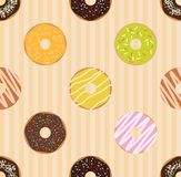 Donuts seamless pattern. Vector seamless pattern Stock Photos