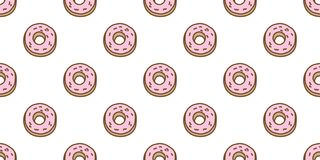 Donuts Seamless Pattern vector cake isolated wallpaper doodle background. Donuts Seamless Pattern vector cake isolated wallpaper doodle tile background stock illustration