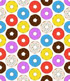 Donuts seamless pattern on white background. Cute sweet food baby background. stock illustration