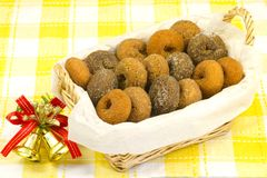 Donuts served in a basket Stock Photos
